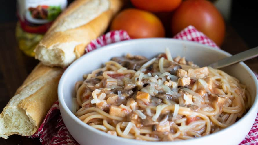 Espagueti con Pavo y Champiñones Paso 5